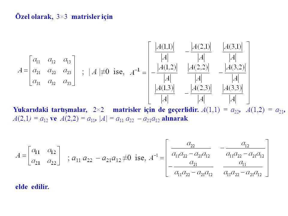 Örnek. matrisinin tersini bulalım. ve böylece