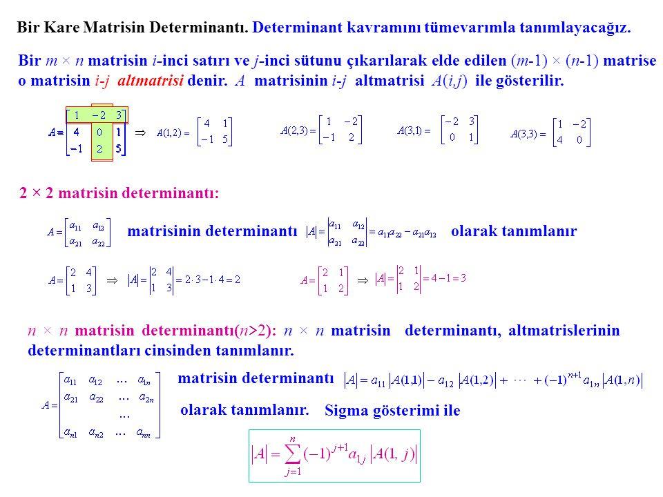 Bu ifadeye A nın determinantının birinci satıra göre açılımı denir 3× 3 matrisin determinantı: + + + - - - Örnek.