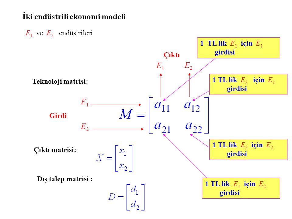 E2E2 E1E1 Girdi a ij : E j nin 1 TL lik çıktı yapması için E i den beklenen girdi Girdi – Çıktı matris denklemi: X = MX + D (I - M) -1 var olmak koşuluyla, ters matris yöntemi ile çözüm: X = (I - M) -1 D.