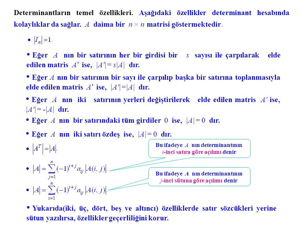 Daha önce hesapladığımız 4×4 determinantı, yukarıda ifade edilen özellikleri kulla- narak hesaplayalım..