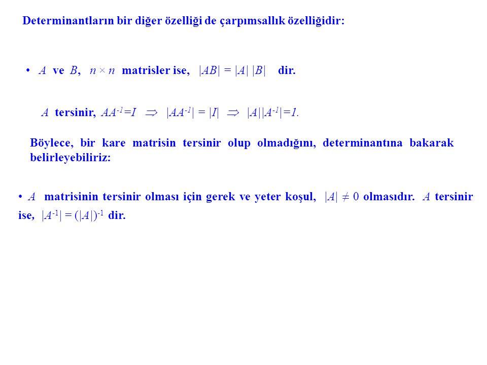 Ters Matris, Cramer Kuralı.Bir n × n matris A = [a ij ], 1 ≤ i, j ≤ n verilmiş olsun.