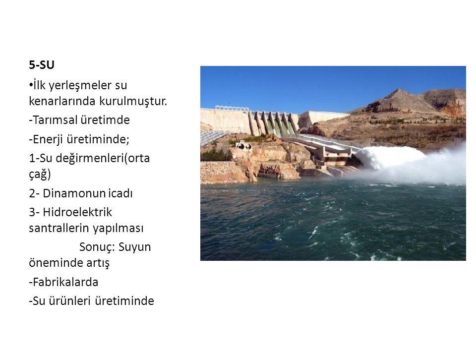 5-SU • İlk yerleşmeler su kenarlarında kurulmuştur. -Tarımsal üretimde -Enerji üretiminde; 1-Su değirmenleri(orta çağ) 2- Dinamonun icadı 3- Hidroelek
