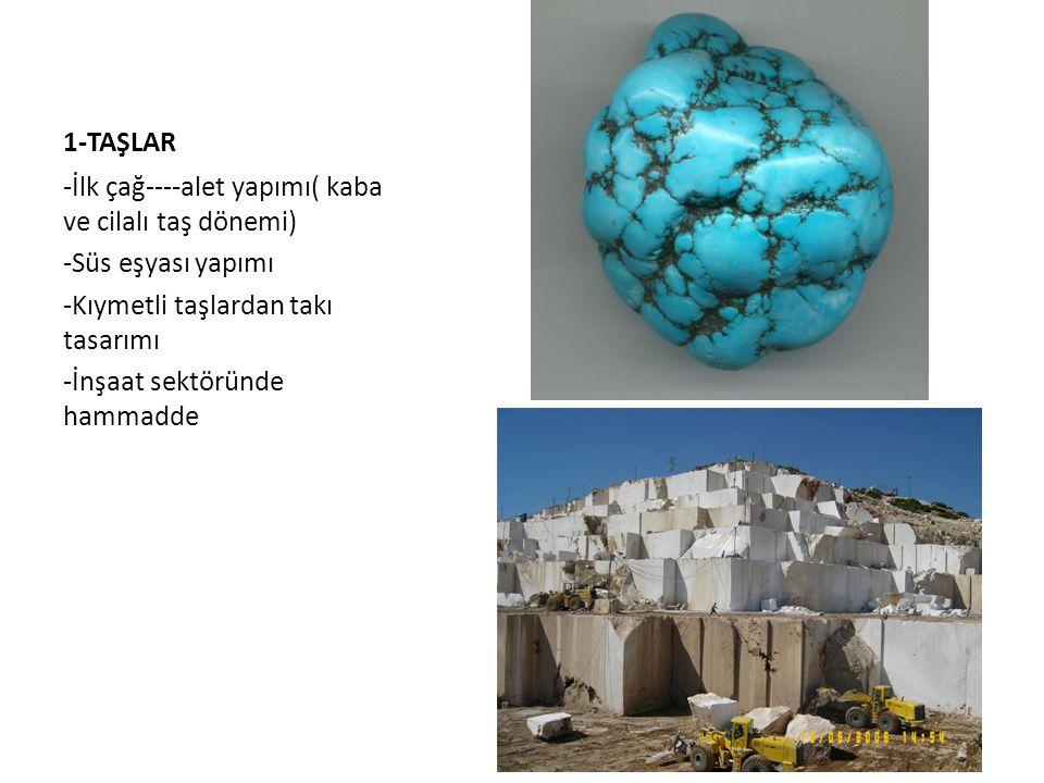1-TAŞLAR -İlk çağ----alet yapımı( kaba ve cilalı taş dönemi) -Süs eşyası yapımı -Kıymetli taşlardan takı tasarımı -İnşaat sektöründe hammadde