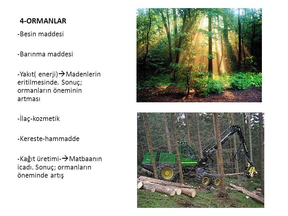 4-ORMANLAR -Besin maddesi -Barınma maddesi -Yakıt( enerji)  Madenlerin eritilmesinde. Sonuç; ormanların öneminin artması -İlaç-kozmetik -Kereste-hamm