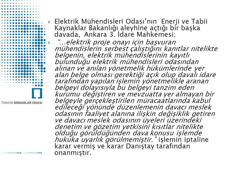  Elektrik Mühendisleri Odası'nın Enerji ve Tabii Kaynaklar Bakanlığı aleyhine açtığı bir başka davada, Ankara 3.