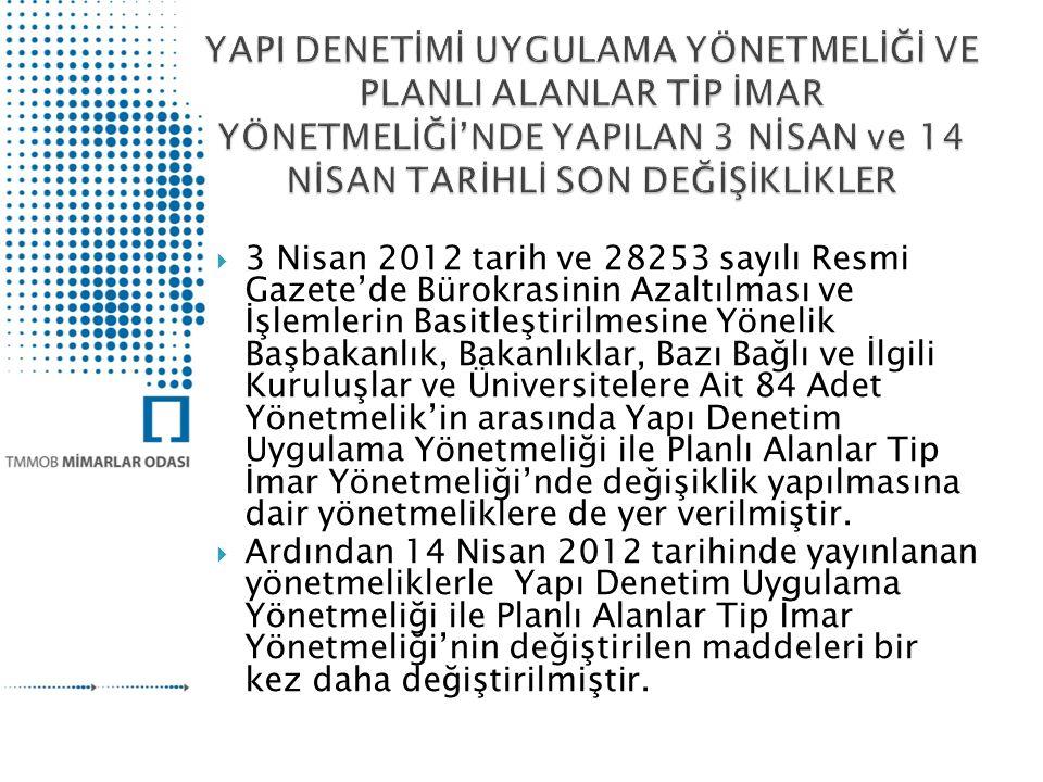  3 Nisan 2012 tarih ve 28253 sayılı Resmi Gazete'de Bürokrasinin Azaltılması ve İşlemlerin Basitleştirilmesine Yönelik Başbakanlık, Bakanlıklar, Bazı Bağlı ve İlgili Kuruluşlar ve Üniversitelere Ait 84 Adet Yönetmelik'in arasında Yapı Denetim Uygulama Yönetmeliği ile Planlı Alanlar Tip İmar Yönetmeliği'nde değişiklik yapılmasına dair yönetmeliklere de yer verilmiştir.