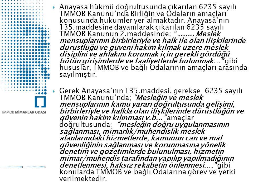  Anayasa hükmü doğrultusunda çıkarılan 6235 sayılı TMMOB Kanunu'nda Birliğin ve Odaların amaçları konusunda hükümler yer almaktadır.