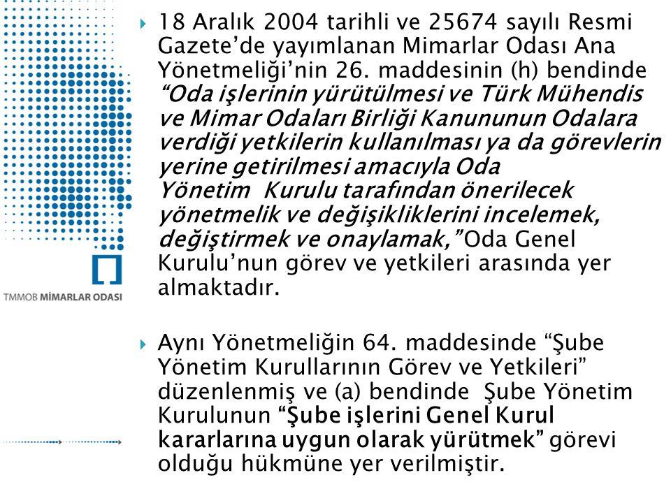  18 Aralık 2004 tarihli ve 25674 sayılı Resmi Gazete'de yayımlanan Mimarlar Odası Ana Yönetmeliği'nin 26.