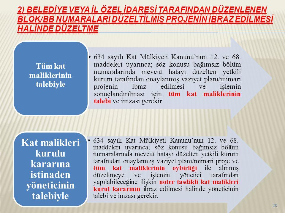 •634 sayılı Kat Mülkiyeti Kanunu'nun 12. ve 68. maddeleri uyarınca; söz konusu bağımsız bölüm numaralarında mevcut hatayı düzelten yetkili kurum taraf