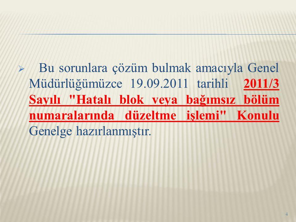  Bu sorunlara çözüm bulmak amacıyla Genel Müdürlüğümüzce 19.09.2011 tarihli 2011/3 Sayılı