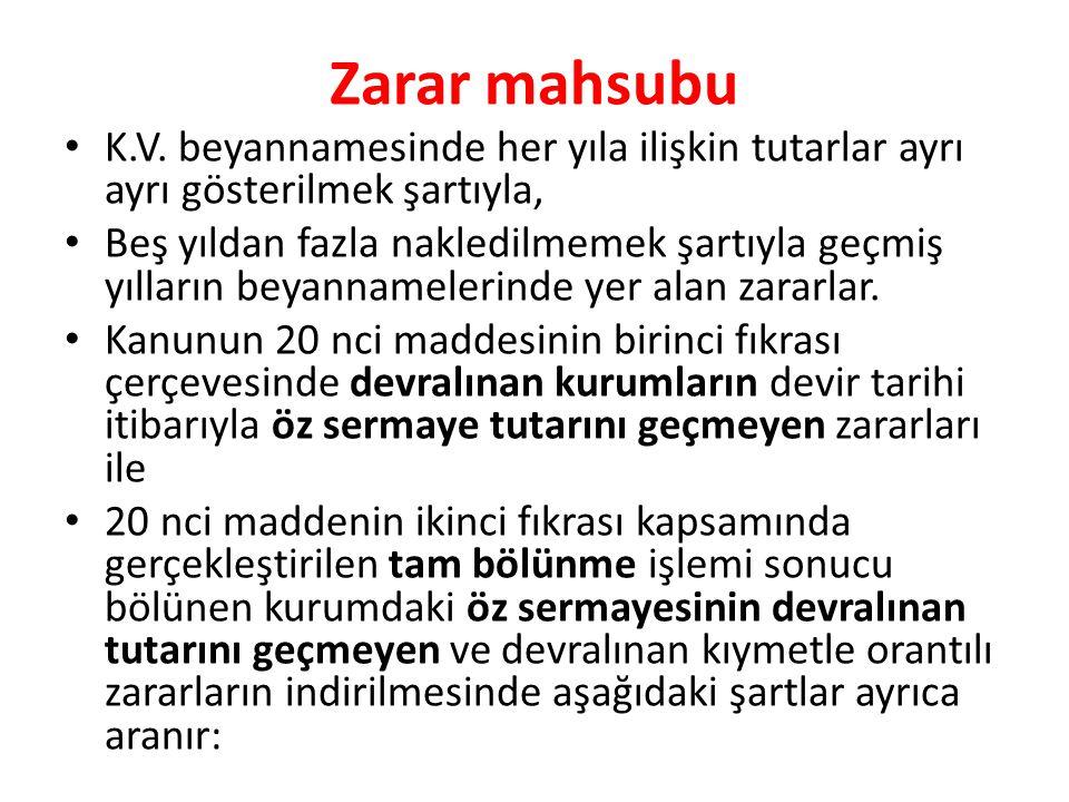 Zarar mahsubu • K.V.