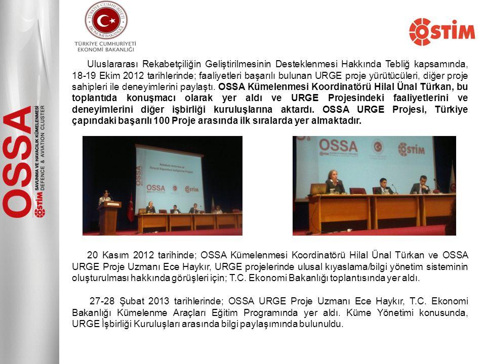 Uluslararası Rekabetçiliğin Geliştirilmesinin Desteklenmesi Hakkında Tebliğ kapsamında, 18-19 Ekim 2012 tarihlerinde; faaliyetleri başarılı bulunan UR