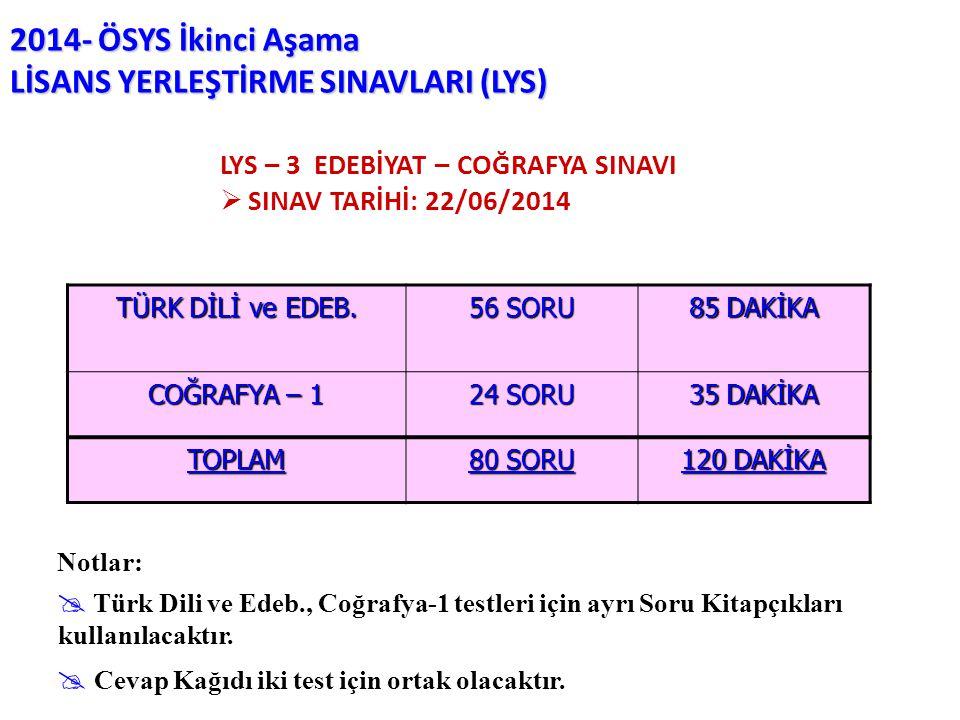2014- ÖSYS İkinci Aşama LİSANS YERLEŞTİRME SINAVLARI (LYS) Notlar:  Türk Dili ve Edeb., Coğrafya-1 testleri için ayrı Soru Kitapçıkları kullanılacakt