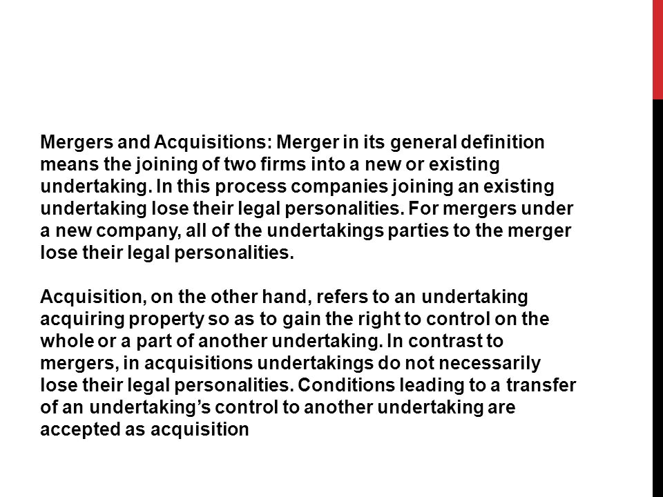 Joint ventures which fulfill all of the functions of an independent economic entity and which involve the exercise of joint control for taking strategic decisions may also be assessed under the scope of mergers/acquisitions.