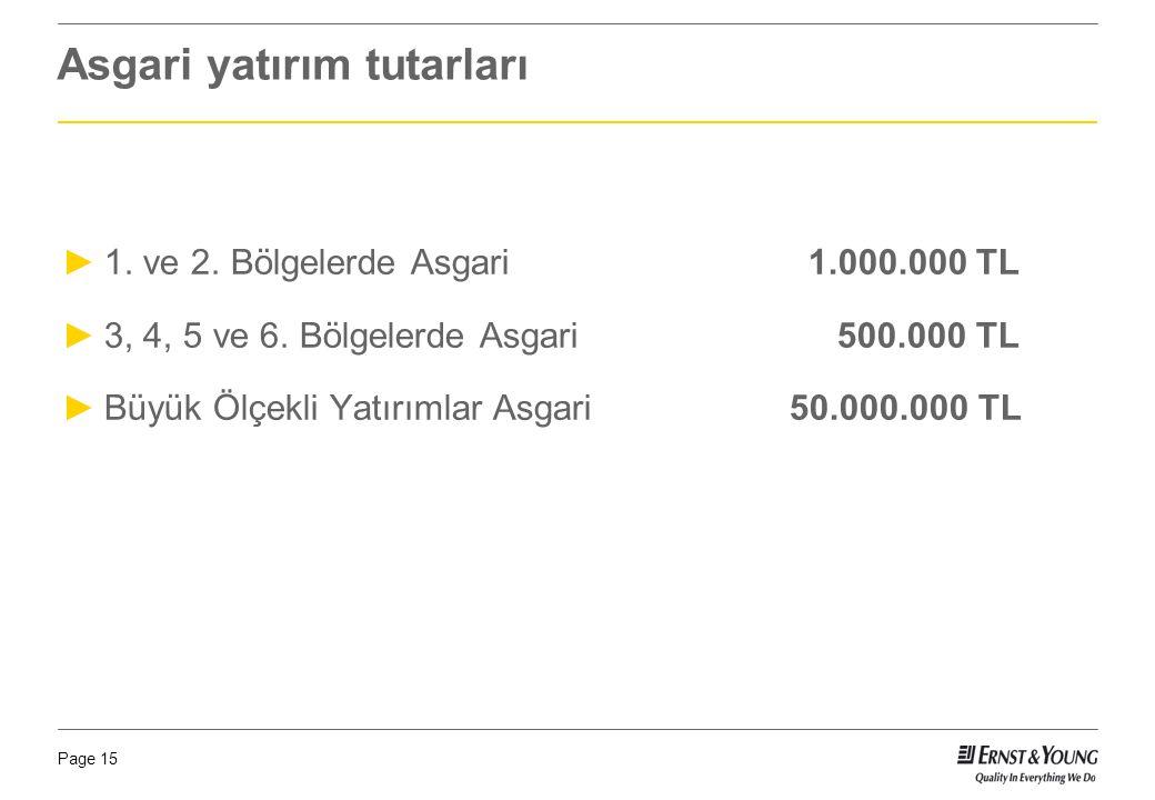 Page 15 Asgari yatırım tutarları ►1. ve 2. Bölgelerde Asgari 1.000.000 TL ►3, 4, 5 ve 6. Bölgelerde Asgari 500.000 TL ►Büyük Ölçekli Yatırımlar Asgari