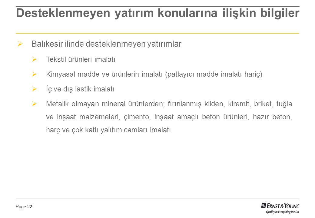 Page 22 Desteklenmeyen yatırım konularına ilişkin bilgiler  Balıkesir ilinde desteklenmeyen yatırımlar  Tekstil ürünleri imalatı  Kimyasal madde ve