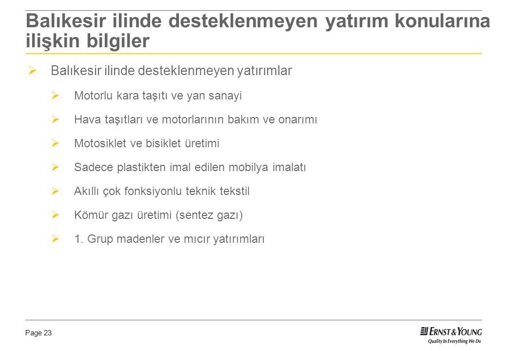 Page 23 Balıkesir ilinde desteklenmeyen yatırım konularına ilişkin bilgiler  Balıkesir ilinde desteklenmeyen yatırımlar  Motorlu kara taşıtı ve yan