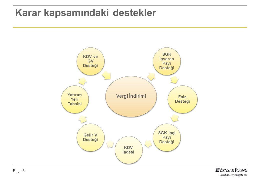 Page 3 Karar kapsamındaki destekler Vergi İndirimi SGK İşveren Payı Desteği Faiz Desteği SGK İşçi Payı Desteği KDV İadesi Gelir V Desteği Yatırım Yeri