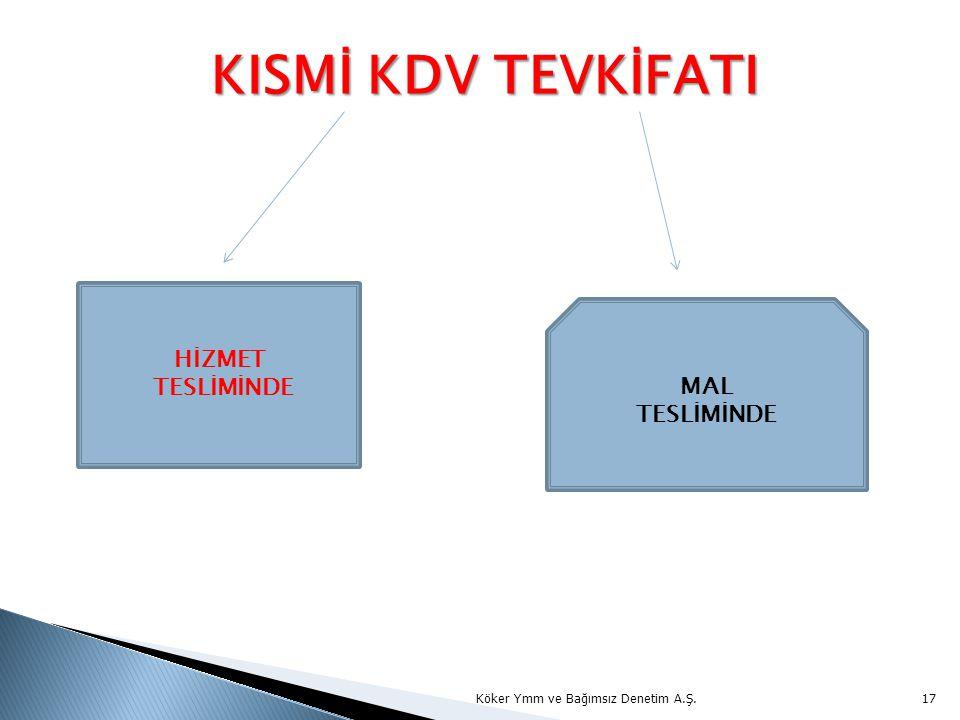 KISMİ KDV TEVKİFATI KISMİ KDV TEVKİFATI Köker Ymm ve Bağımsız Denetim A.Ş.