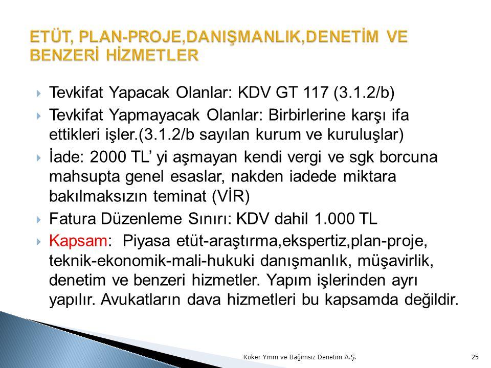 Tevkifat Yapacak Olanlar: KDV GT 117 (3.1.2/b)  Tevkifat Yapmayacak Olanlar: Birbirlerine karşı ifa ettikleri işler.(3.1.2/b sayılan kurum ve kurul