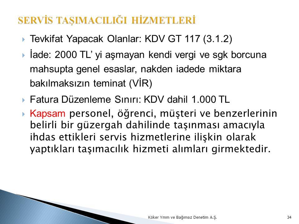  Tevkifat Yapacak Olanlar: KDV GT 117 (3.1.2)  İade: 2000 TL' yi aşmayan kendi vergi ve sgk borcuna mahsupta genel esaslar, nakden iadede miktara bakılmaksızın teminat (VİR)  Fatura Düzenleme Sınırı: KDV dahil 1.000 TL  Kapsam personel, öğrenci, müşteri ve benzerlerinin belirli bir güzergah dahilinde taşınması amacıyla ihdas ettikleri servis hizmetlerine ilişkin olarak yaptıkları taşımacılık hizmeti alımları girmektedir.