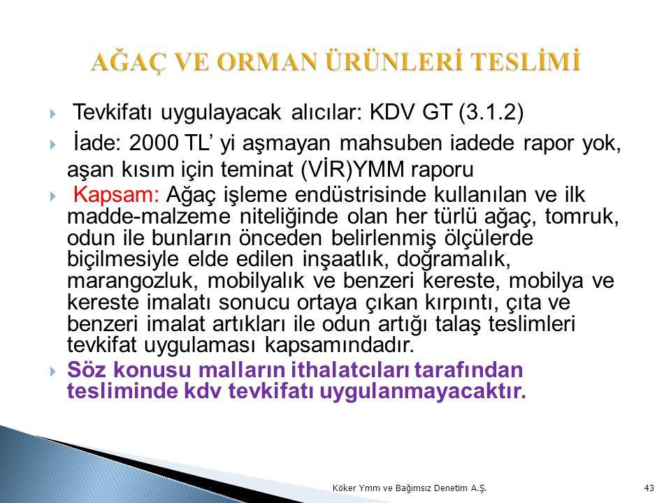  Tevkifatı uygulayacak alıcılar: KDV GT (3.1.2)  İade: 2000 TL' yi aşmayan mahsuben iadede rapor yok, aşan kısım için teminat (VİR)YMM raporu  Kapsam: Ağaç işleme endüstrisinde kullanılan ve ilk madde-malzeme niteliğinde olan her türlü ağaç, tomruk, odun ile bunların önceden belirlenmiş ölçülerde biçilmesiyle elde edilen inşaatlık, doğramalık, marangozluk, mobilyalık ve benzeri kereste, mobilya ve kereste imalatı sonucu ortaya çıkan kırpıntı, çıta ve benzeri imalat artıkları ile odun artığı talaş teslimleri tevkifat uygulaması kapsamındadır.