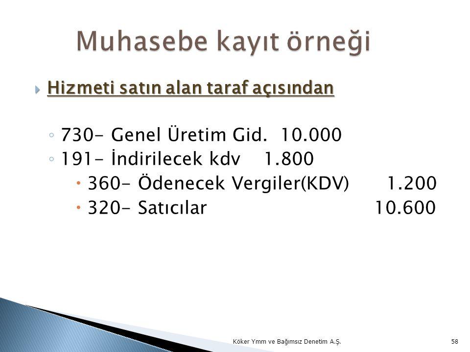  Hizmeti satın alan taraf açısından ◦ 730- Genel Üretim Gid. 10.000 ◦ 191- İndirilecek kdv1.800  360- Ödenecek Vergiler(KDV) 1.200  320- Satıcılar