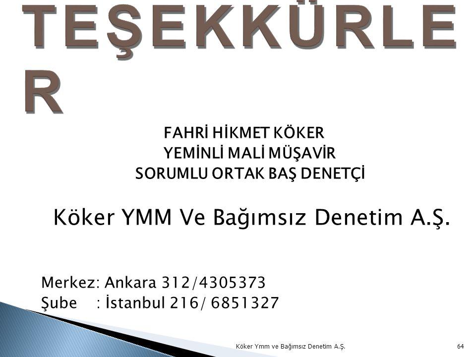 FAHRİ HİKMET KÖKER YEMİNLİ MALİ MÜŞAVİR SORUMLU ORTAK BAŞ DENETÇİ Köker YMM Ve Bağımsız Denetim A.Ş. Merkez: Ankara 312/4305373 Şube : İstanbul 216/ 6