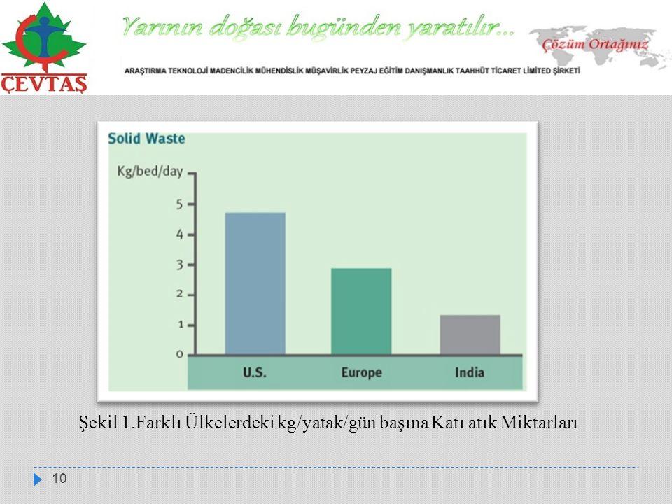 10 Şekil 1.Farklı Ülkelerdeki kg/yatak/gün başına Katı atık Miktarları