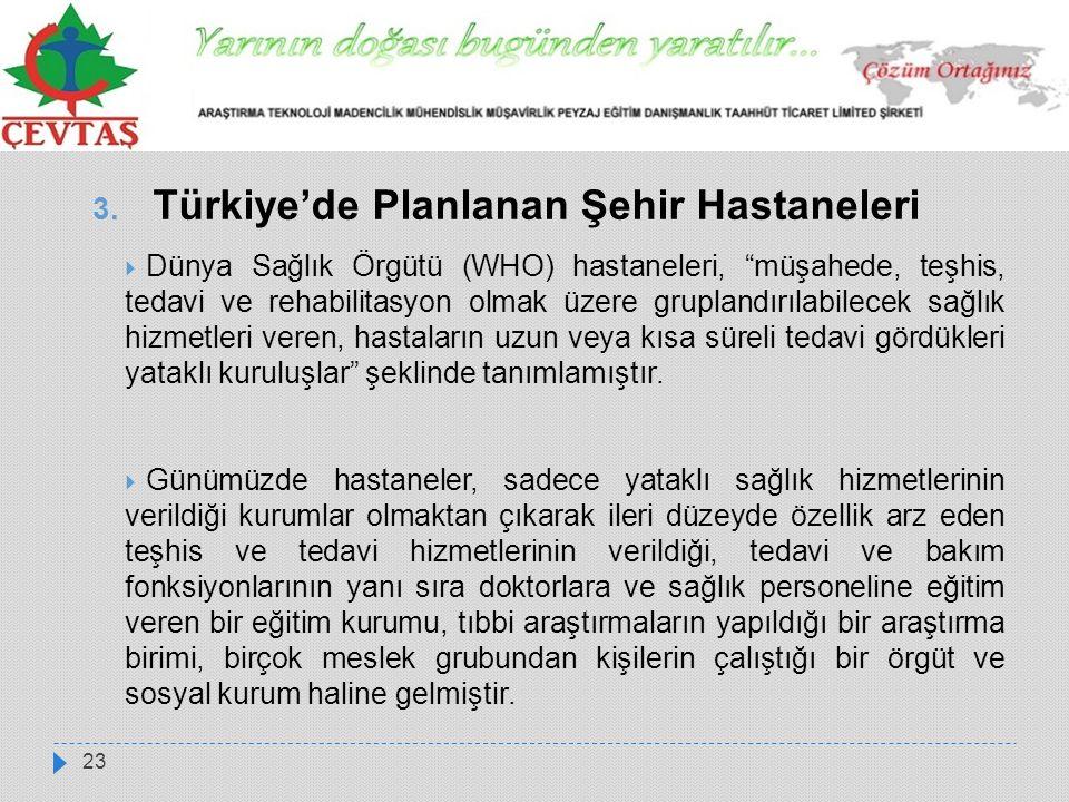 """23 3. Türkiye'de Planlanan Şehir Hastaneleri  Dünya Sağlık Örgütü (WHO) hastaneleri, """"müşahede, teşhis, tedavi ve rehabilitasyon olmak üzere grupland"""