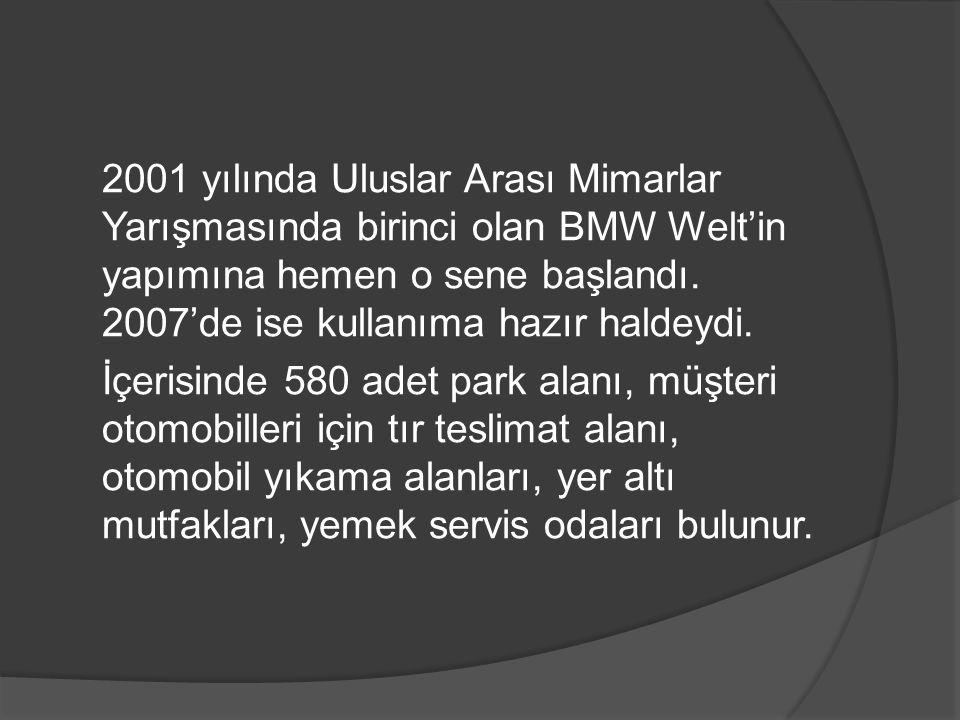 2001 yılında Uluslar Arası Mimarlar Yarışmasında birinci olan BMW Welt'in yapımına hemen o sene başlandı. 2007'de ise kullanıma hazır haldeydi. İçeris