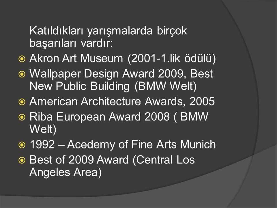 Katıldıkları yarışmalarda birçok başarıları vardır:  Akron Art Museum (2001-1.lik ödülü)  Wallpaper Design Award 2009, Best New Public Building (BMW