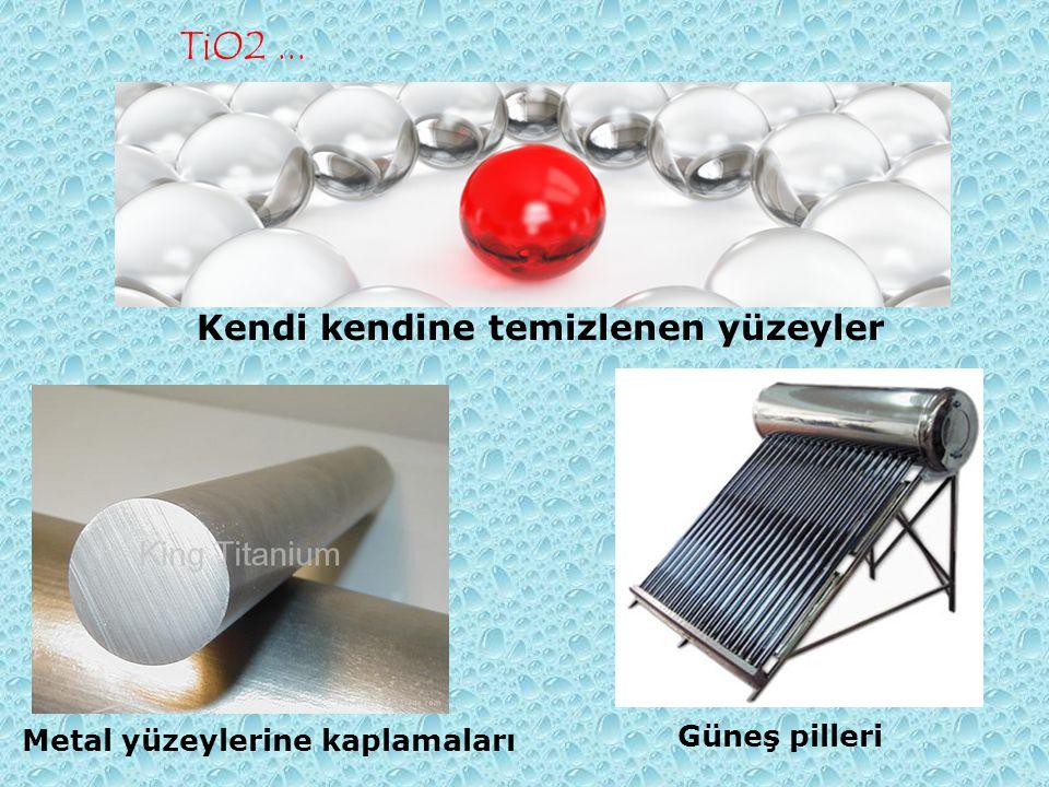 TiO2... Kendi kendine temizlenen yüzeyler Metal yüzeylerine kaplamaları Güneş pilleri