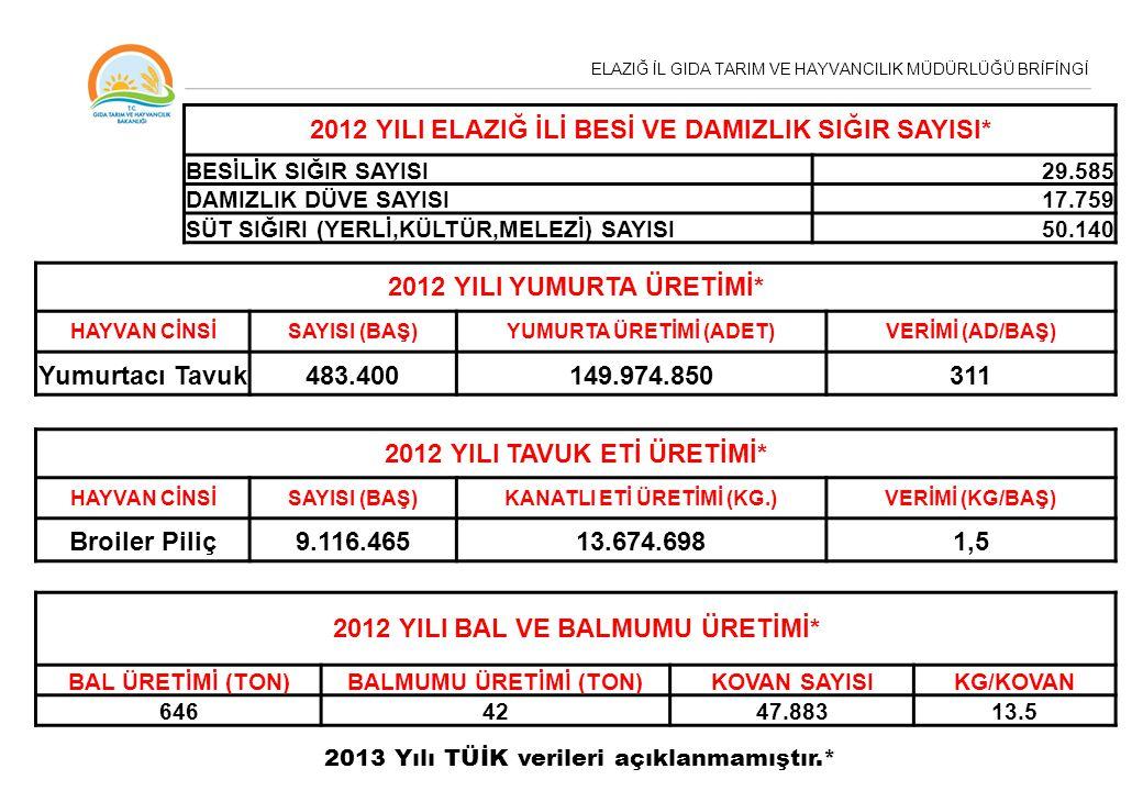 ELAZIĞ İL GIDA TARIM VE HAYVANCILIK MÜDÜRLÜĞÜ BRİFİNGİ 2012 YILI ELAZIĞ İLİ BESİ VE DAMIZLIK SIĞIR SAYISI* BESİLİK SIĞIR SAYISI29.585 DAMIZLIK DÜVE SA
