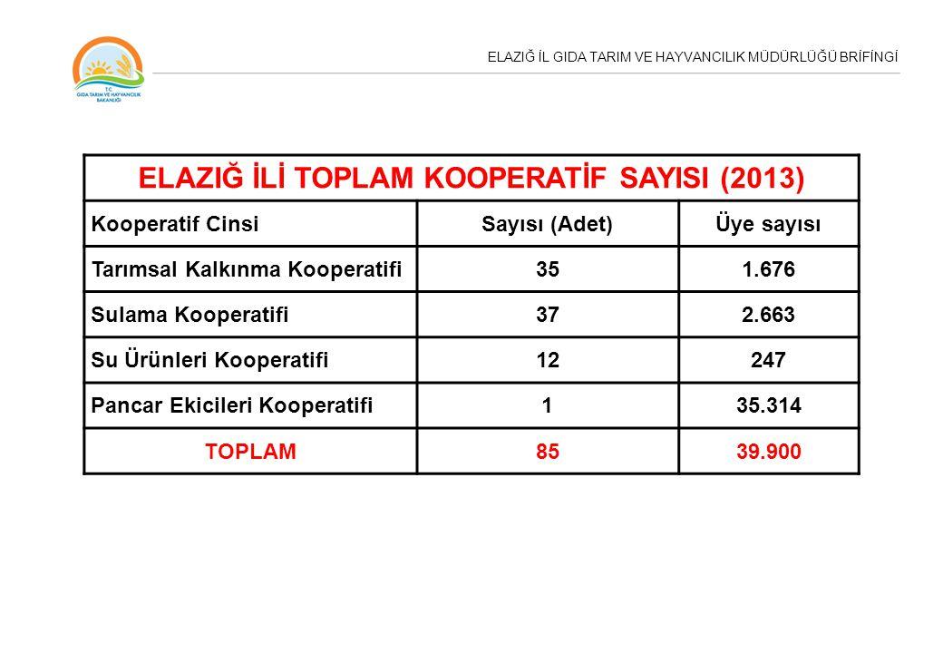ELAZIĞ İL GIDA TARIM VE HAYVANCILIK MÜDÜRLÜĞÜ BRİFİNGİ ELAZIĞ İLİ TOPLAM KOOPERATİF SAYISI (2013) Kooperatif CinsiSayısı (Adet)Üye sayısı Tarımsal Kal