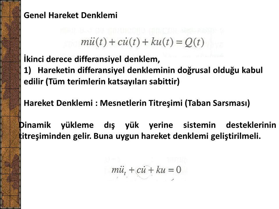 Genel Hareket Denklemi İkinci derece differansiyel denklem, 1)Hareketin differansiyel denkleminin doğrusal olduğu kabul edilir (Tüm terimlerin katsayı