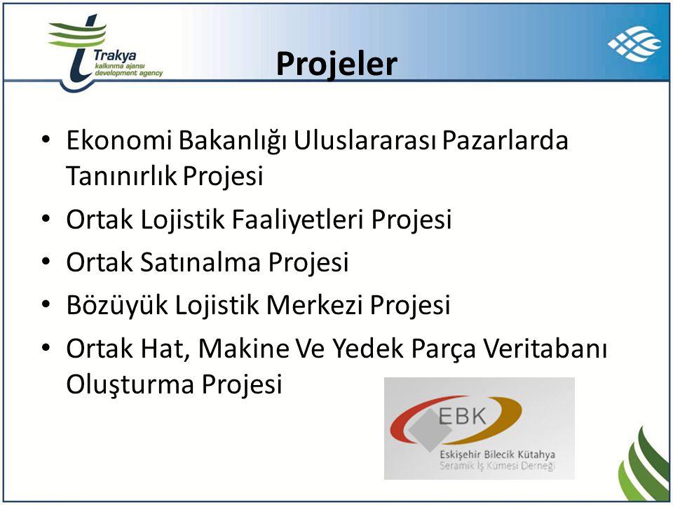 Projeler • Ekonomi Bakanlığı Uluslararası Pazarlarda Tanınırlık Projesi • Ortak Lojistik Faaliyetleri Projesi • Ortak Satınalma Projesi • Bözüyük Loji