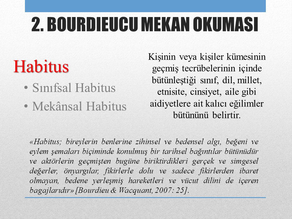 Habitus • Sınıfsal Habitus • Mekânsal Habitus 2. BOURDIEUCU MEKAN OKUMASI Kişinin veya kişiler kümesinin geçmiş tecrübelerinin içinde bütünleştiği sın