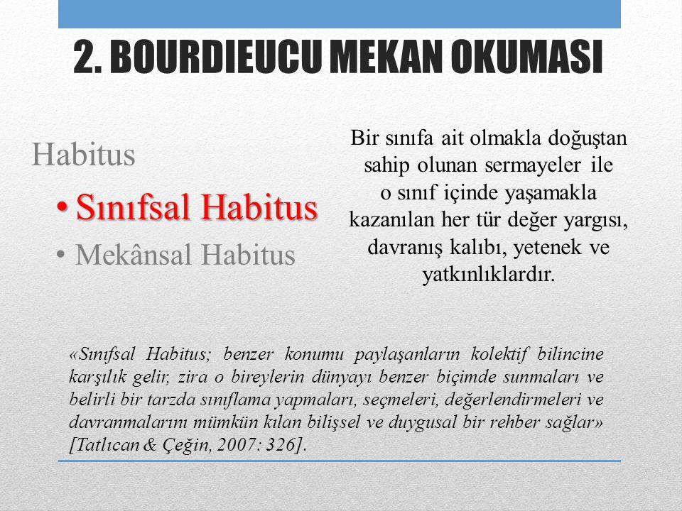 Habitus • Sınıfsal Habitus • Mekânsal Habitus 2. BOURDIEUCU MEKAN OKUMASI «Sınıfsal Habitus; benzer konumu paylaşanların kolektif bilincine karşılık g