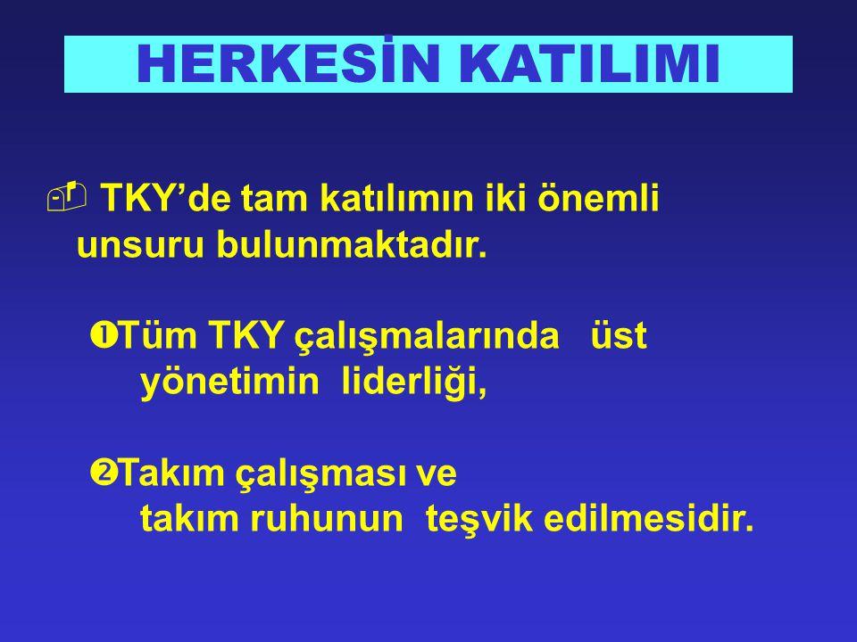  TKY'de tam katılımın iki önemli unsuru bulunmaktadır.  Tüm TKY çalışmalarında üst yönetimin liderliği,  Takım çalışması ve takım ruhunun teşvik ed
