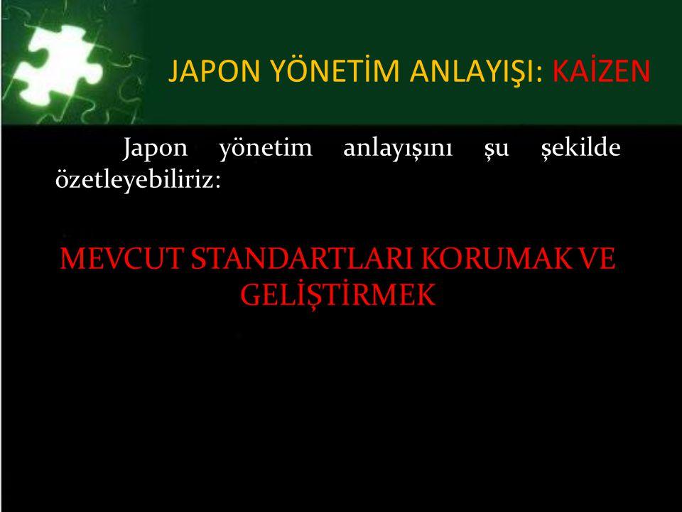 JAPON YÖNETİM ANLAYIŞI: KAİZEN Japon yönetim anlayışını şu şekilde özetleyebiliriz: MEVCUT STANDARTLARI KORUMAK VE GELİŞTİRMEK