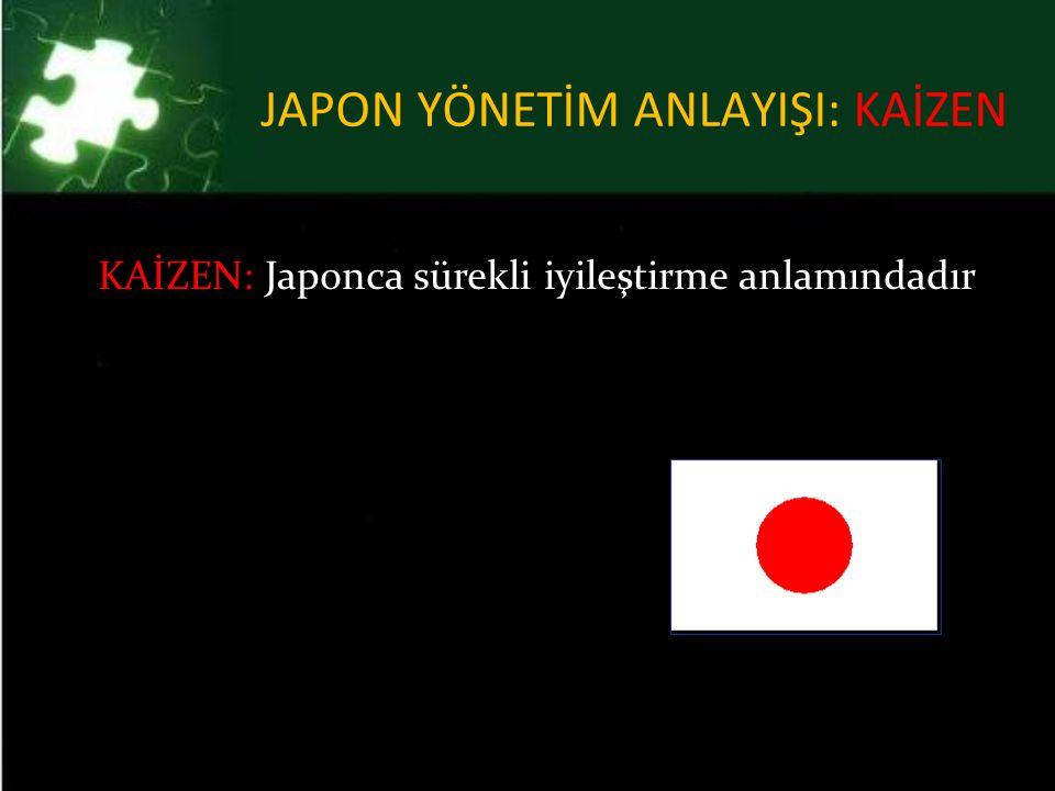 JAPON YÖNETİM ANLAYIŞI: KAİZEN KAİZEN: Japonca sürekli iyileştirme anlamındadır