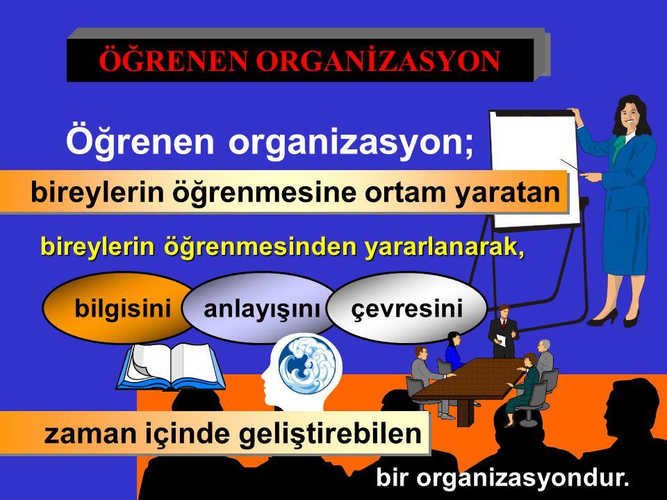 76 Öğrenen organizasyon; bireylerin öğrenmesine ortam yaratan bireylerin öğrenmesinden yararlanarak, bilgisinianlayışınıçevresini bir organizasyondur.