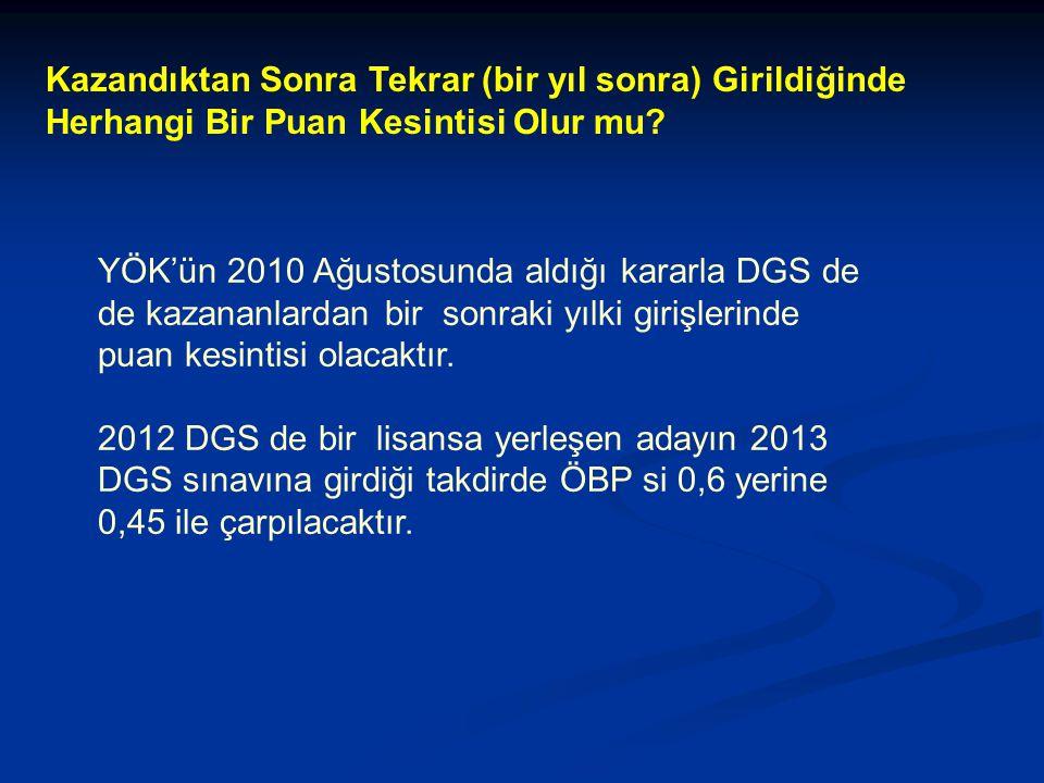 YÖK'ün 2010 Ağustosunda aldığı kararla DGS de de kazananlardan bir sonraki yılki girişlerinde puan kesintisi olacaktır.