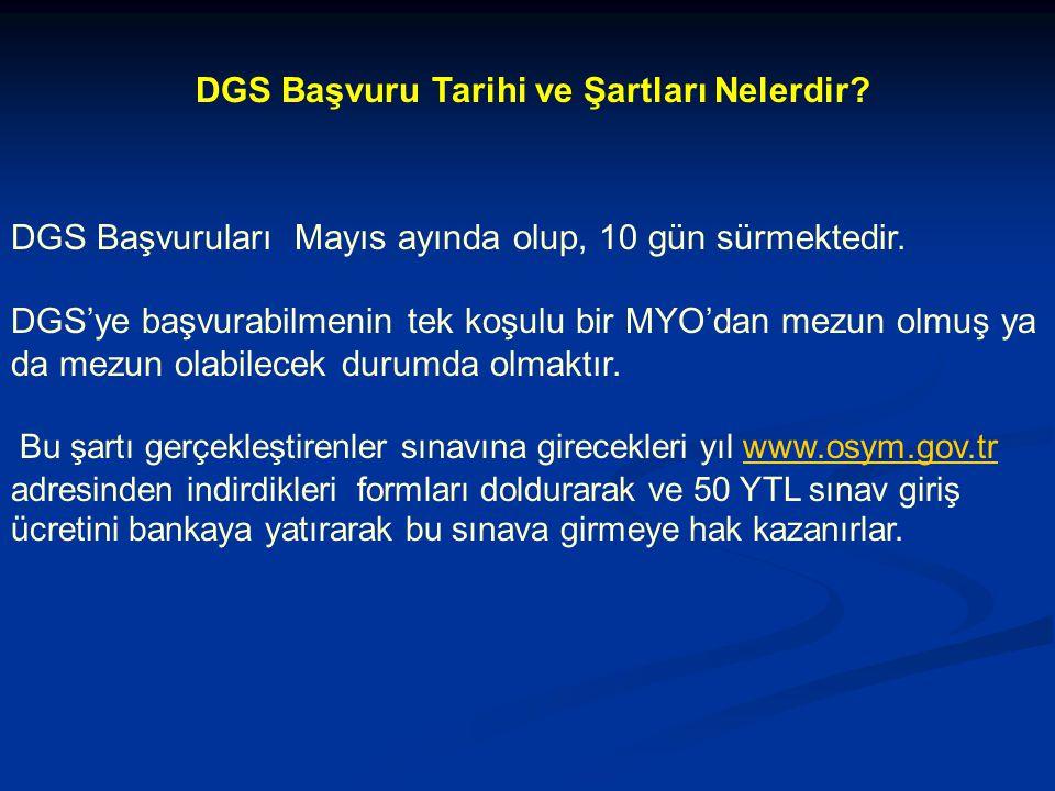 DGS Başvuru Tarihi ve Şartları Nelerdir.DGS Başvuruları Mayıs ayında olup, 10 gün sürmektedir.