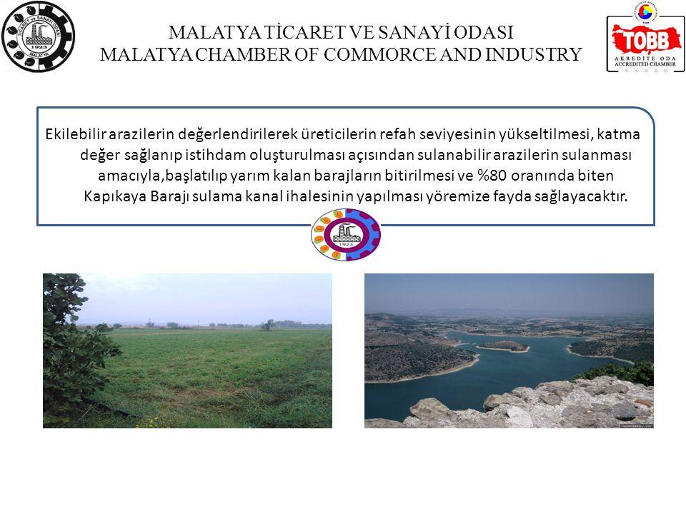MALATYA TİCARET VE SANAYİ ODASI MALATYA CHAMBER OF COMMORCE AND INDUSTRY Ekilebilir arazilerin değerlendirilerek üreticilerin refah seviyesinin yükseltilmesi, katma değer sağlanıp istihdam oluşturulması açısından sulanabilir arazilerin sulanması amacıyla,başlatılıp yarım kalan barajların bitirilmesi ve %80 oranında biten Kapıkaya Barajı sulama kanal ihalesinin yapılması yöremize fayda sağlayacaktır.