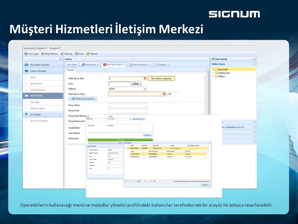 Müşteri Hizmetleri İletişim Merkezi Operatörlerin kullanacağı menü ve metodlar yönetici profilindeki kullanıclar tarafından tek bir arayüz ile kolayca