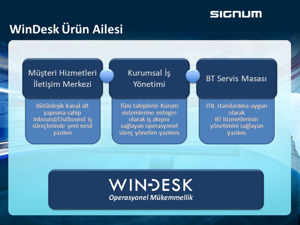 WinDesk Ürün Ailesi ITIL standardına uygun olarak BT hizmetlerinin yönetimini sağlayan yazılım BT Servis Masası Bütünleşik kanal alt yapısına sahip In