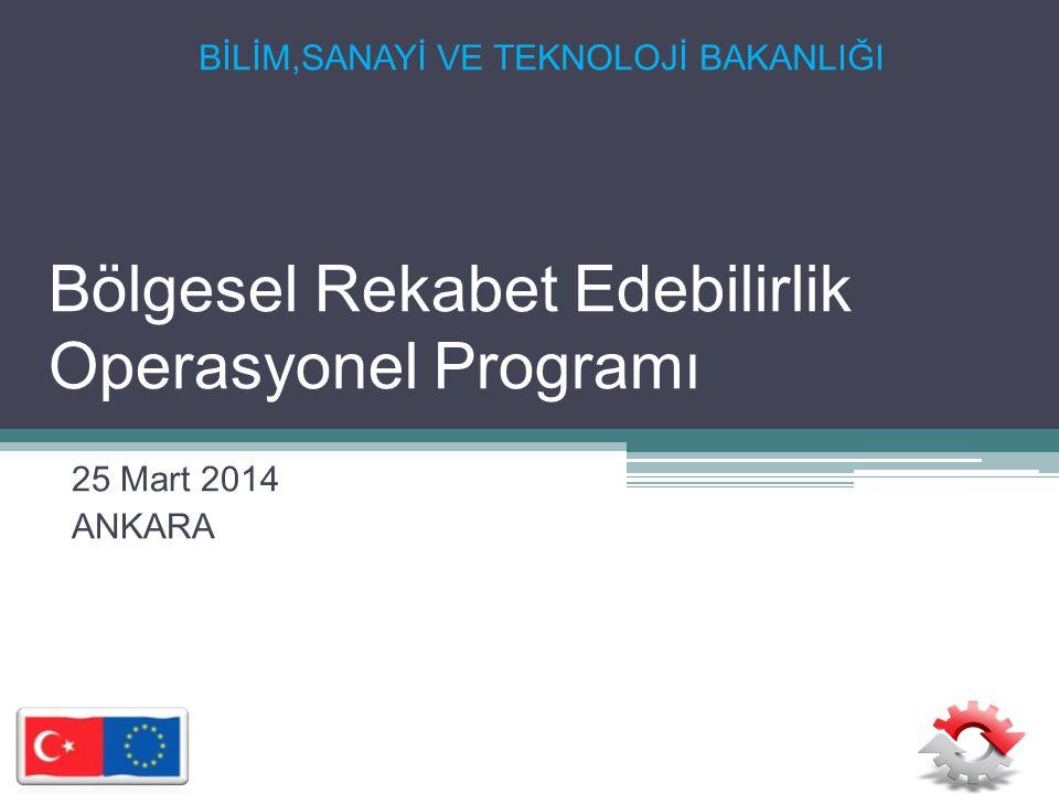 Bölgesel Rekabet Edebilirlik Operasyonel Programı 25 Mart 2014 ANKARA BİLİM,SANAYİ VE TEKNOLOJİ BAKANLIĞI