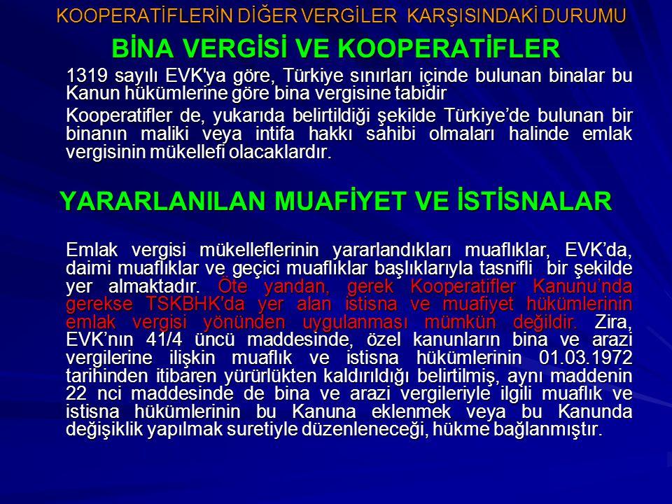 KOOPERATİFLERİN DİĞER VERGİLER KARŞISINDAKİ DURUMU BİNA VERGİSİ VE KOOPERATİFLER 1319 sayılı EVK'ya göre, Türkiye sınırları içinde bulunan binalar bu